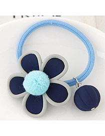 Lovely Light Blue Fuzzy Ball Decorated Flower Design Hair Hoop
