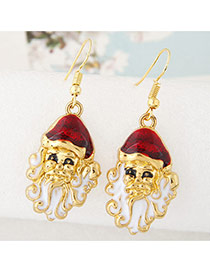 Cute Red+white Santa Claus Shape Pendant Decorated Simple Earring