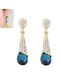 Fashion Peacock Blue Diamond Decorated Waterdrop Beads Earring