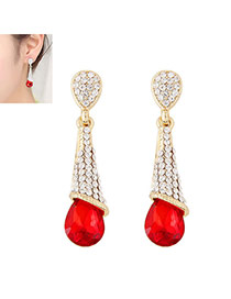 Fashion Red Diamond Decorated Waterdrop Beads Earring