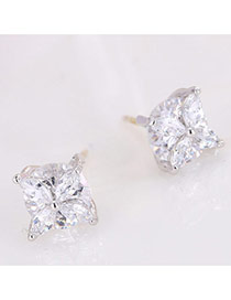 Elegant Silver Color Diamond Flower Shape Decorated Simple Earring