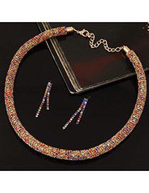 Fashion Multi-color Twist Chain Decorated Simple Jewelry Sets