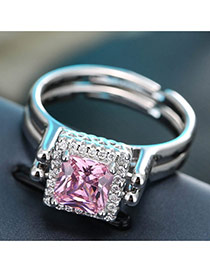 Sweet Pink Square Diamond Decorated Double Layer Adjustable Ring