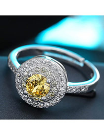 Sweet Yellow Round Diamond Decorated Simple Adjustable Ring