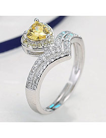 Sweet Yellow Heart Shape Daimon Decorated Simple Adjustable Ring