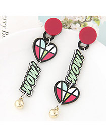 Cute Green+red Letter&heart Shape Pendant Decorated Cartoon Earring