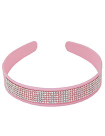 Elegant Pink Multilayer Diamond Decorated Pure Color Hair Clasp
