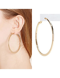 Fashion Gold Color Circle Shape Decorated Pure Color Design Alloy Korean Earrings
