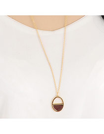 Vintage Gold Color Half-round Pendant Decorated Simple Design Alloy Bib Necklaces