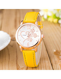 Elegant Yellow Flower Shape Pattern Decorated Pure Color Strap Design Pu Ladies Watches