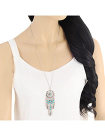 Fashion Silver Color Tassel Pendant Decorated Simple Necklace
