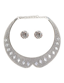 Exaggerate Silver Color Rhombus Diamond Decorated Collar Shape Jewely Sets
