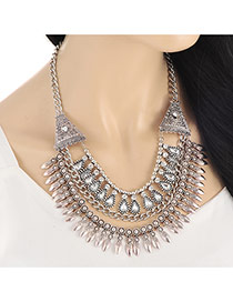 Vintage Silver Color Waterdrop Shape Diamond Decorated Multilayer Necklace