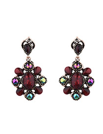 Fashion Red Geometric Shape Gemstone Decorated Symmetry Design Alloy Stud Earrings