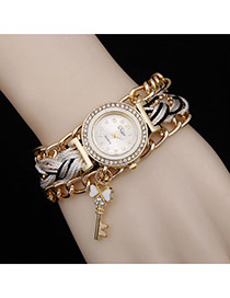 Delicate White Key Pendant Decorated Watch