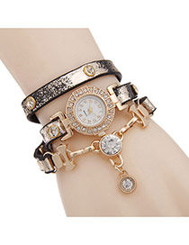 Bohemia Black Double Diamond Pendant Decorated Multilayer Watch