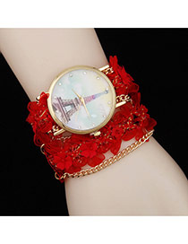 Lovely Red Flower Decorated Simple Watch