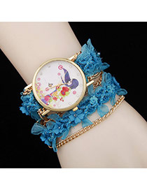 Lovely Blue Flower Decorated Simple Watch