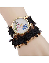 Lovely Black Flower Decorated Simple Watch