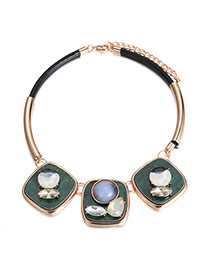 Fashion Blue Round Gemstone Decorated Short Necklace