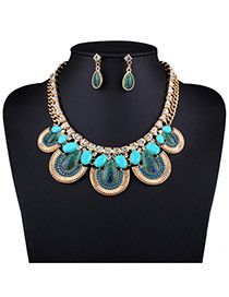 Personality Blue Peacock Pattern Decorated Short Chain Nacklace Set