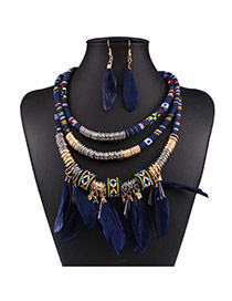 Fashion Blue Feather Pendant Decorated Multi-layer Necklace Set