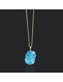 Elegant Blue Irregular Shape Gravel Pendant Decorated Long Chain Design
