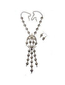 Delicate Silver Color Round Shape Decorated Tassel Jewelry Sets