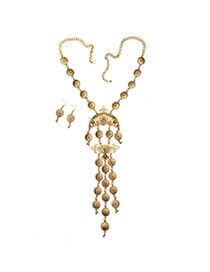Delicate Gold Color Round Shape Decorated Tassel Jewelry Sets