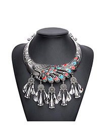 Fashion Blue Peacock Design Tassel Short Chain Necklace
