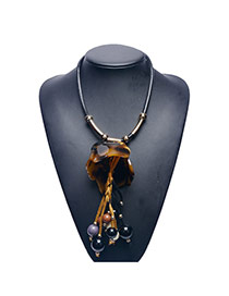 Fashion Brown Beads Tassle Pendant Decorated Leather Chain Necklace