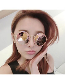 Fashion Pink Geometric Shape Decorated Hollow Out Simple Glasses