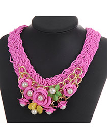 Fashion Pink Flower&pearl Decorated Weaving Collar Necklace