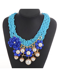 Fashion Blue Flower&pearl Decorated Weaving Collar Necklace