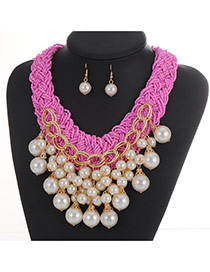 Fashion Pink Pearl Pendant Decorated Weaving Collar Jewelry Sets