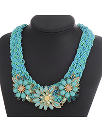 Fashion Blue Flower Decorated Hand-woven Collar Necklace