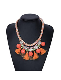 Fashion Orange Beads&tassel Pendant Decorated Hand-woven Chain Necklace