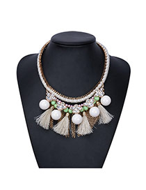 Fashion Beige Beads&tassel Pendant Decorated Hand-woven Chain Necklace