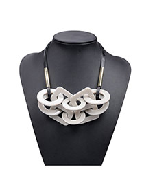 Retro Beige Geometric Shape Matching Decorated Short Chain Necklace