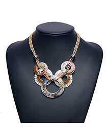 Retro Multi-color Round Shape Matching Pendant Decorated Short Chain Necklace