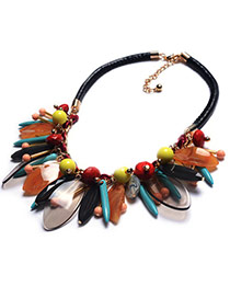 Fashion Multi-color Geometric Shape Tassel Pendant Decorated Weaving Chain Necklace