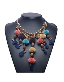 Vintage Multi-color Fuzzy Ball &tassel Decorated Short Chain Necklace