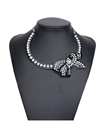 Sweet Black Color Matching Chain Decorated Simple Necklace