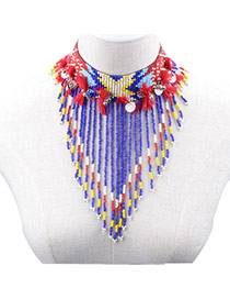 Vintage Multi-color Diamond Decorated Bowknot Shape Necklace