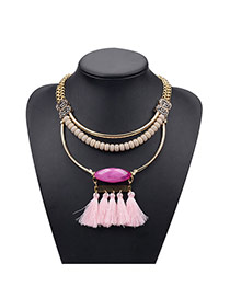 Vintage Pink Gemstone&tessal Decorated Double Layer Necklace