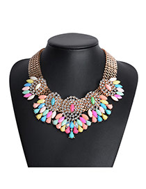 Elegant Multi-color Gemstone&tessal Decorated Double Layer Necklace