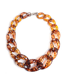 Exaggerate Brown Color Matching Decorated Hollow Out Collarbone Necklace