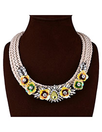 Lovely Yellow Flower&leaf Decorated Hand-woven Necklace