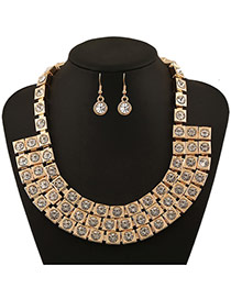 Retro Gold Color Metal Square Decorated Multilayer Jewerly Sets