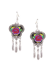 Exaggerated Pureple Flower Embroidery Pattern Decorated Butterfly Shape Earring
